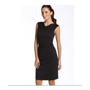David Meister Ruched Sleeveless Cowl Neck Dress